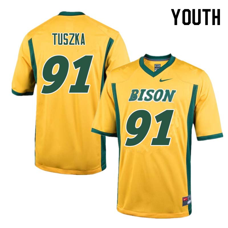Youth #91 Derrek Tuszka North Dakota State Bison College Football Jerseys Sale-Yellow